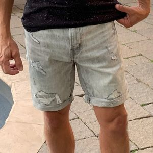 American Eagle Men's Distressed Grey Denim Shorts